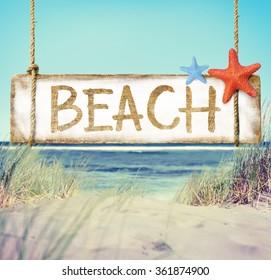 Beach Timber Placard Holiday Vacation Coastline Concept