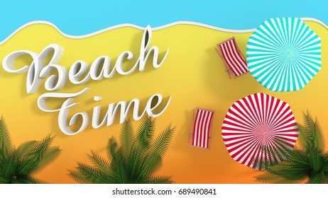 Beach time - beach with umbrellas and beach chairs - 3d rendering