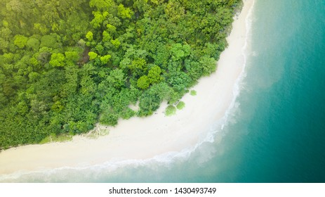 Beach top view or aerial view of the tropical island, white sand and emerald water in Phranang Beach, Railay Bay, Krabi, Thailand