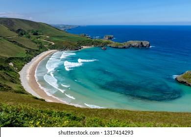 Beach of Torimbia near to Llanes village in Asturias Spain