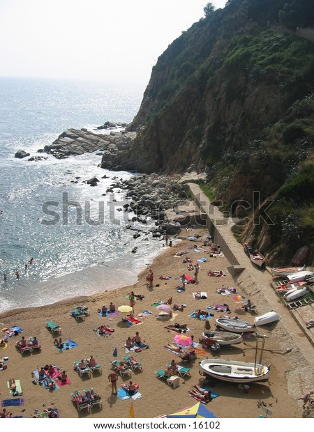 Beach in Tossa de Mar, Spain.