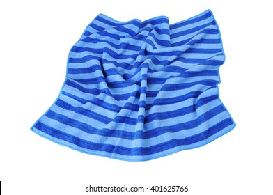 Beach Towel striped cloth, isolated on white background. Out a top view.