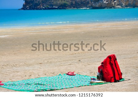 Beach towels on sand Patterned Beach Towels And Summer Accessories On Sand Shutterstock Beach Towels Summer Accessories On Sand Stock Photo edit Now