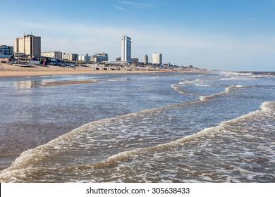 Beach in town Zandvoort, North Holland, Netherlands
