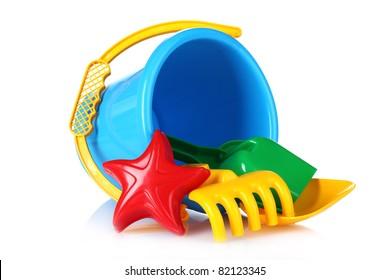 beach toys isolated on white
