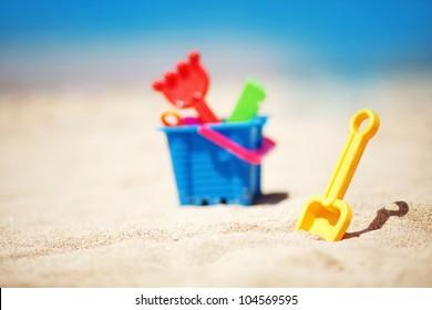 beach toys in the sand