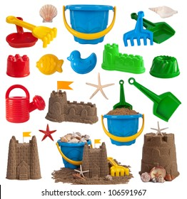 Beach toys and sand castles isolated on white background