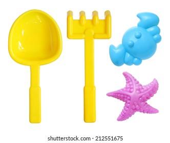 Beach toys set isolated on white background
