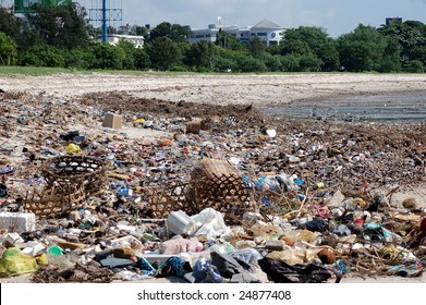 The beach with a lot of trash