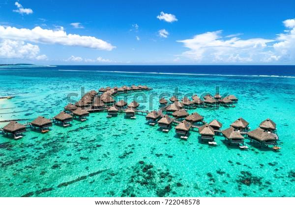 Beach Travel Vacation Tahiti Hotel Overwater Stock Photo