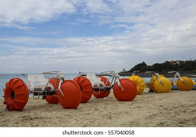 Beach tricycle/ water tricycle on sand of northern Okinawa.