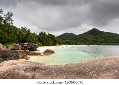 Beach at the tropical islands of the Seychelles