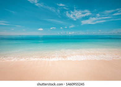 Beach and tropical sea. Beautiful gentle wave at tropical beach with clear sky. Peaceful nature view, bright coast, idyllic landscape