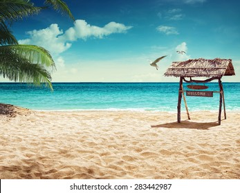 beach and tropical sea. concept for rest