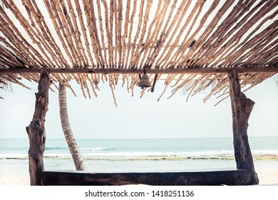 Beach tropical vintage background with sea view shadow canopy shelter