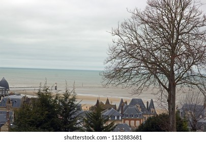 The beach of Trouville seen down from the city (Trouville Normandie France)