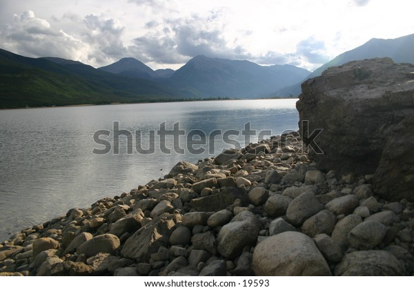 Beach of Twin Lakes Reservoir near the continental divide in Colorado