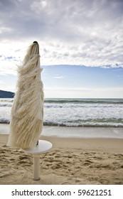 beach umbrella during a windy day