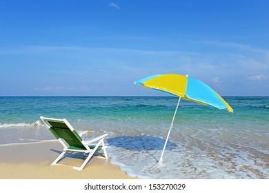 The beach and the beach umbrella of midsummer.
