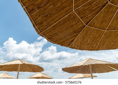 Beach umbrella on sunny day