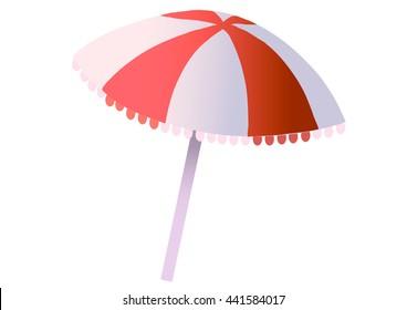 Beach umbrella on a white background.