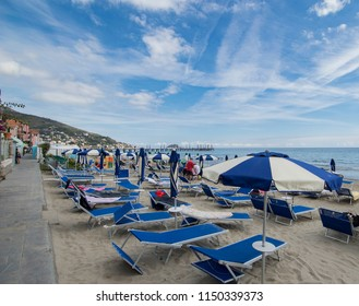 Beach with Umbrellas in Alassio in September 2017