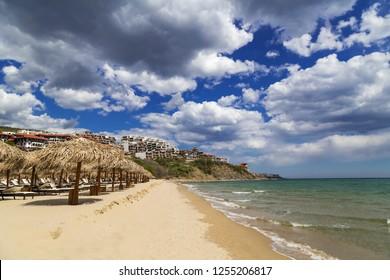 Beach with umbrellas at the Bulgarian Black Sea coast