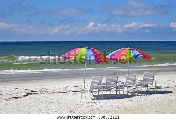 Beach Umbrellas and Chairs on the Beach