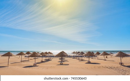 Beach umbrellas on the the beautiful  beach.
