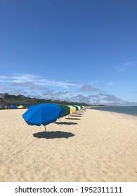 Beach umbrellas on a Nantucket beach