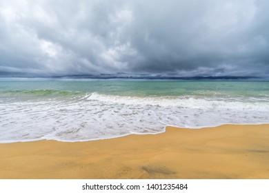 beach under storm in Thailand