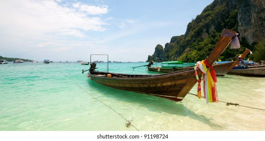 Beach Vacation boats in Thailand