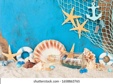 Beach vacation concept with sand and sea shells