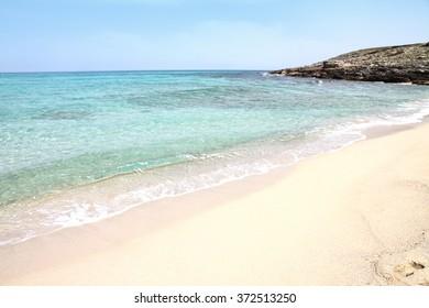 Beach and view of beautiful sea, Cala Mesquida, Majorca island, Spain