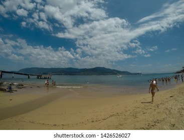 Beach view with blue skay and clouds