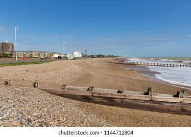 Beach view to the east Littlehampton West Sussex England UK