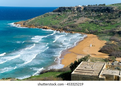 Beach view located in Gozo island, Malta. This site is a great touristic destination.