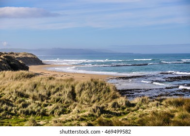 Beach view near Slope Point, the Southernmost point of New Zealand