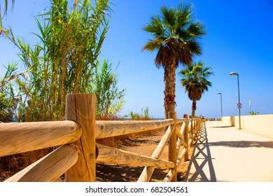 Beach view. San Pedro de Alcantara city, Marbella, Andalusia, Spain.