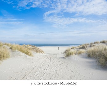 Beach view from the sand dunes. North sea, Germany