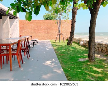 Beach view terrace space. Interior and architecture.
