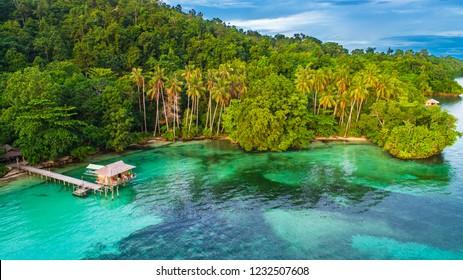 Beach view in Waigeo island. Raja Ampat, West Papua, Indonesia.