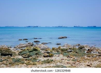 Beach viewpoint. rock coast at Sichang island Viewpoint Chonburi,Thailand