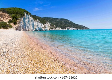 The beach of Vignanotica on the coast of Gargano National park on Apulia, Italy