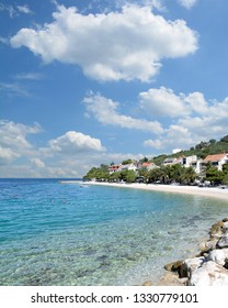 Beach and Village of Bratus at Makarska Riviera,adriatic Sea,Dalmatia region,Croatia