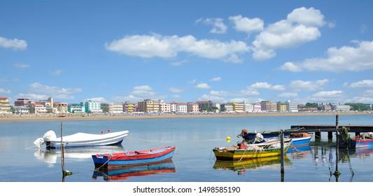 Beach and Village of Caorle near Venice at adriatic Sea,Veneto,Italy