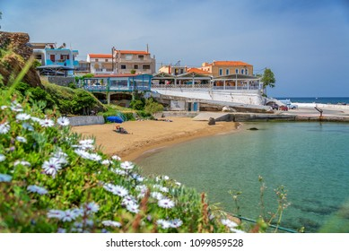 Beach and village of Panormos, Crete, Greece