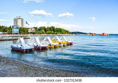 The beach of Vodice on the islands background , Croatia.