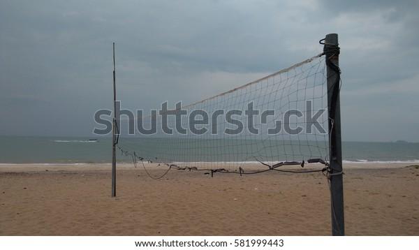 Beach a volleyball court at sea. Summer. low light