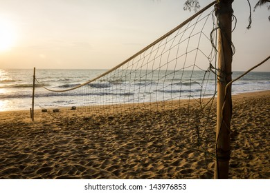 Beach volleyball in morning
